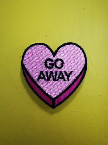 Go away Embroidered Iron on Patch