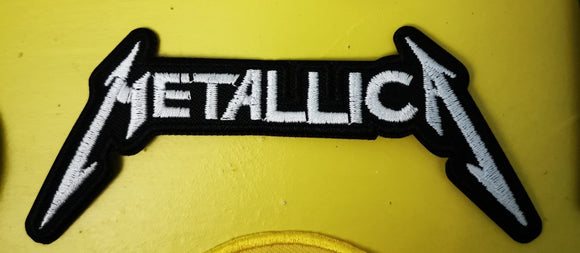 Patches Metallica White Embroidered Iron on Patch Kwaito Koeksister