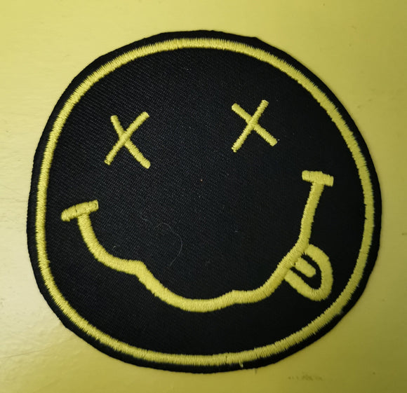 Nirvana round Black Embroidered Iron on Patch Patches Kwaitokoeksister