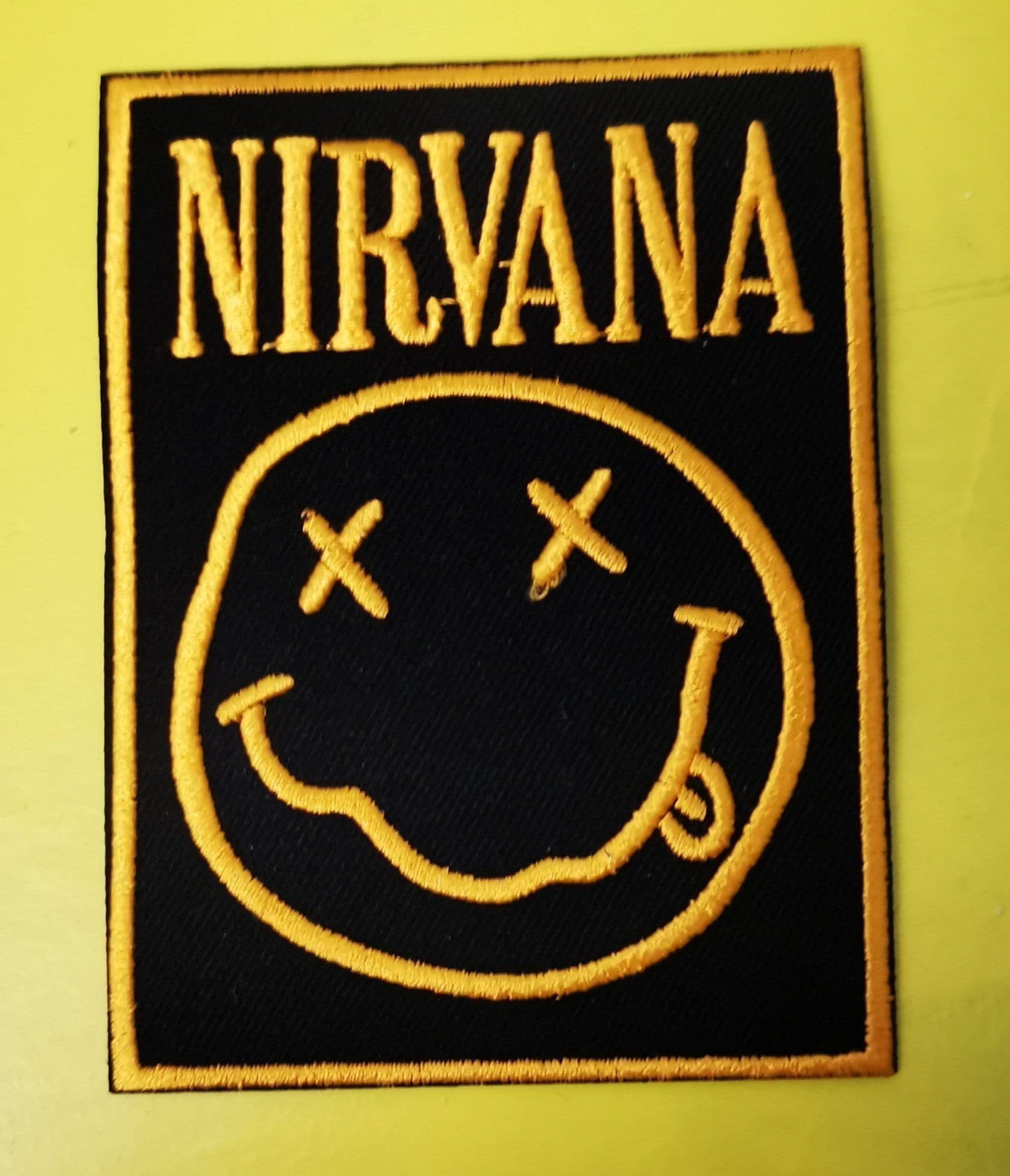 Nirvana Square Yellow border Embroidered Iron on Patch