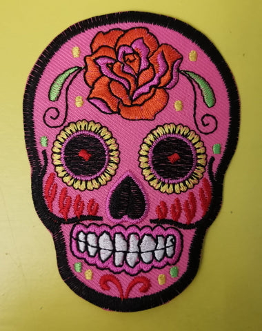 Pink Skull Embroidered Iron on Patch