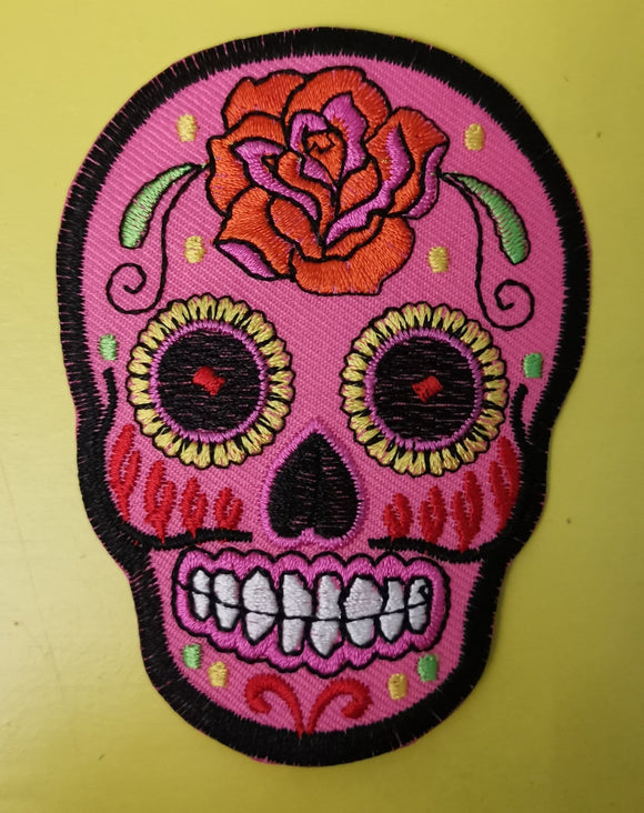 Pink Skull Embroidered Iron on Patch Patches Kwaitokoeksister