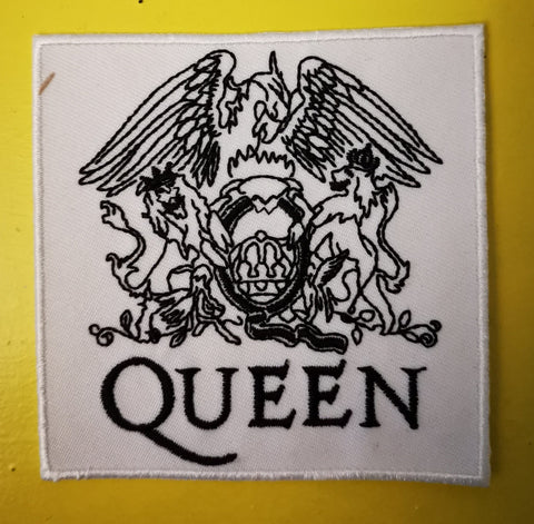 Queen White Embroidered Iron on Patch