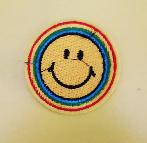 Small Smiley Embroidered Iron on Patch
