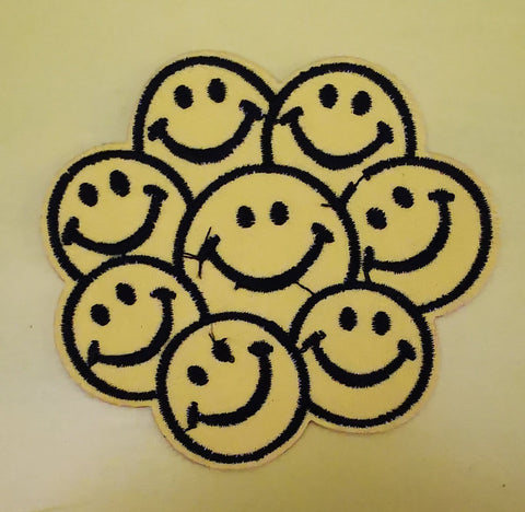 Smiley Faces Embroidered Iron on Patch