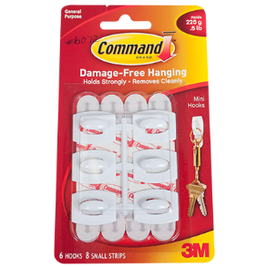 COMMAND HOOKS MINI 6PC WHITE