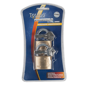 PADLOCK  40MM BRASS 2PC KEY ALIKE TOLEDO