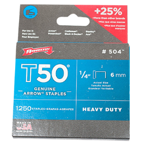 "STAPLES 1/4"" HEAVY DUTY FOR T50 ARROW"