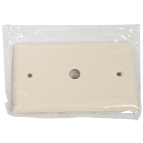"PLASTIC 2"" X 4"" 1 HOLE TELEPHONE OR CABLE COVER IVORY"