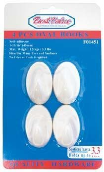 MEDIUM ADHESSIVE OVAL PLASTIC HOOKS