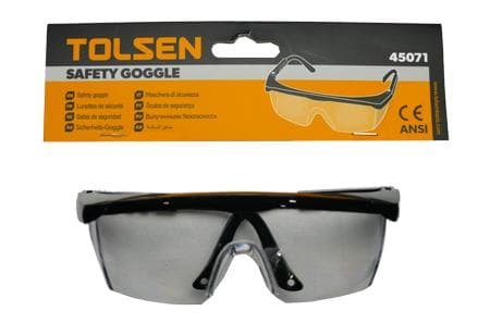 SAFETY GOGGLE CLEAR CE AND ANSI TOLSEN