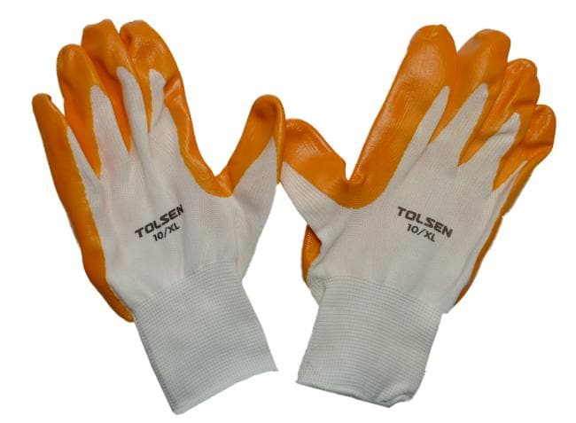 YELLOW POLYESTER NITRILE WORKING GLOVES XL TOLSEN