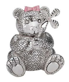 Baby Bear Bank with Pink Bow