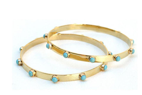Graham Bangle- Brass and Turquoise