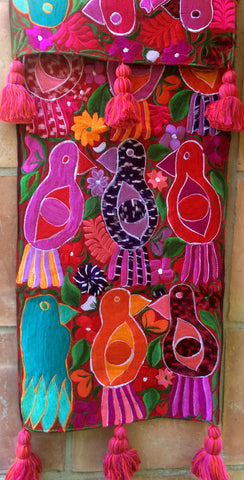 Red Colorful Parrot Runner with Tassels
