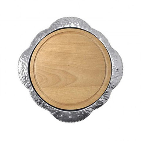 Mariposa Round Platter with Wood Insert
