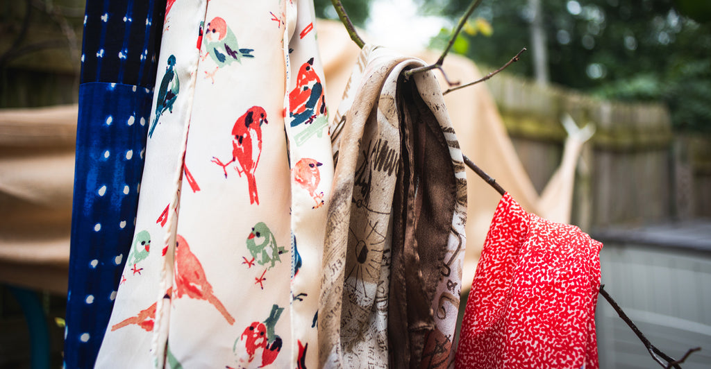 Image of Scarves on Branch Outdoors