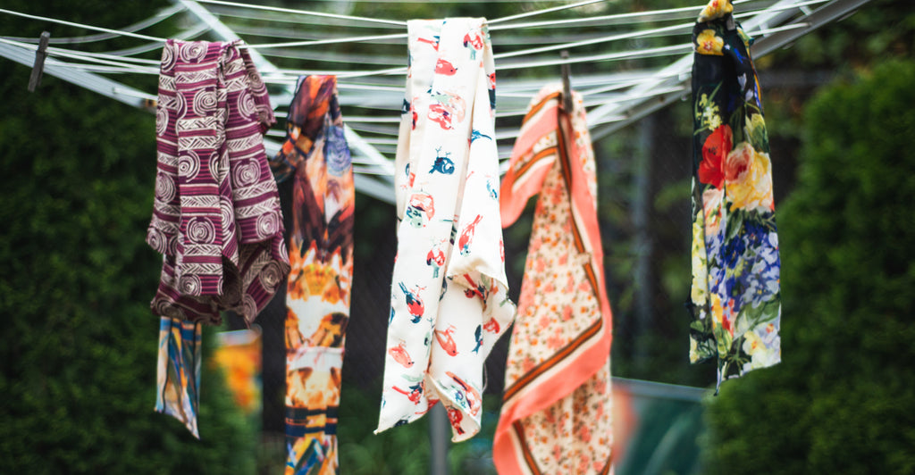 Image of Scarves on Clothes Line