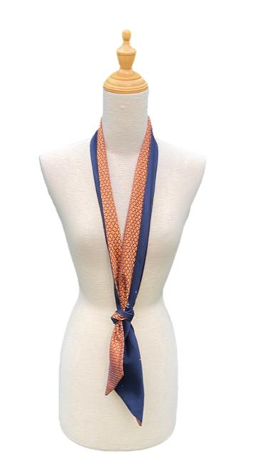 Nakita Navy Orange Silk Scarf-Ti-Scarves-Inspire Me Scarves