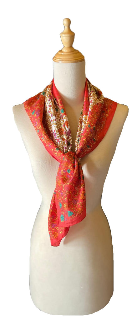 Maia - Classic Coral Print Scarf-Spring/Summer Inspired Scarves-Inspire Me Scarves