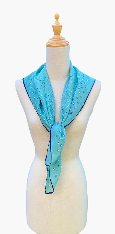 Bibi - Turquoise Navy Print Scarf-Spring/Summer Inspired Scarves-Inspire Me Scarves