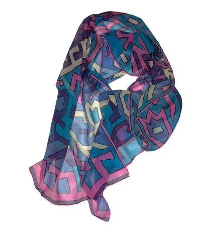 Zaid- Classic Abstract Chiffon Scarf-Spring/Summer Inspired Scarves-Inspire Me Scarves