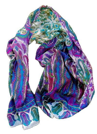 Fion - Classic Paisley/Geometric Pattern Scarf-Vintage/Silk/Other Scarves-Inspire Me Scarves