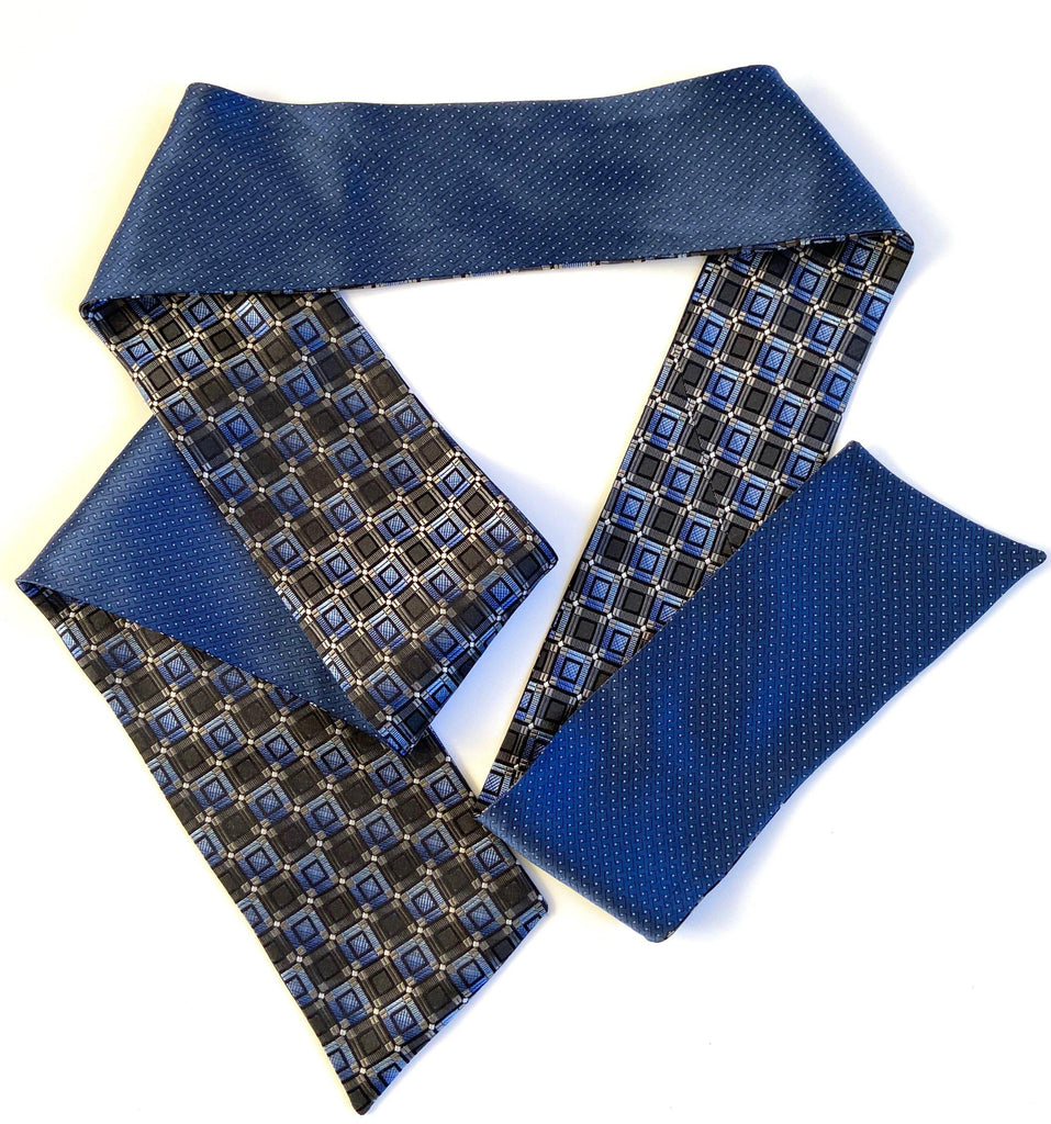 Vickie - Blue Squares & Dots Ti-Scarf-Ti-Scarves-Inspire Me Scarves