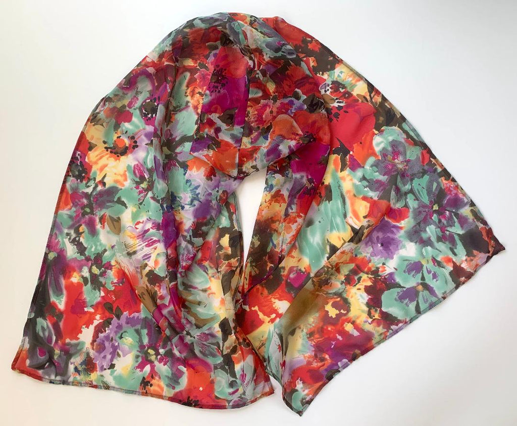Carmella - Abstract Floral Scarf-Repurposed Scarves-Inspire Me Scarves