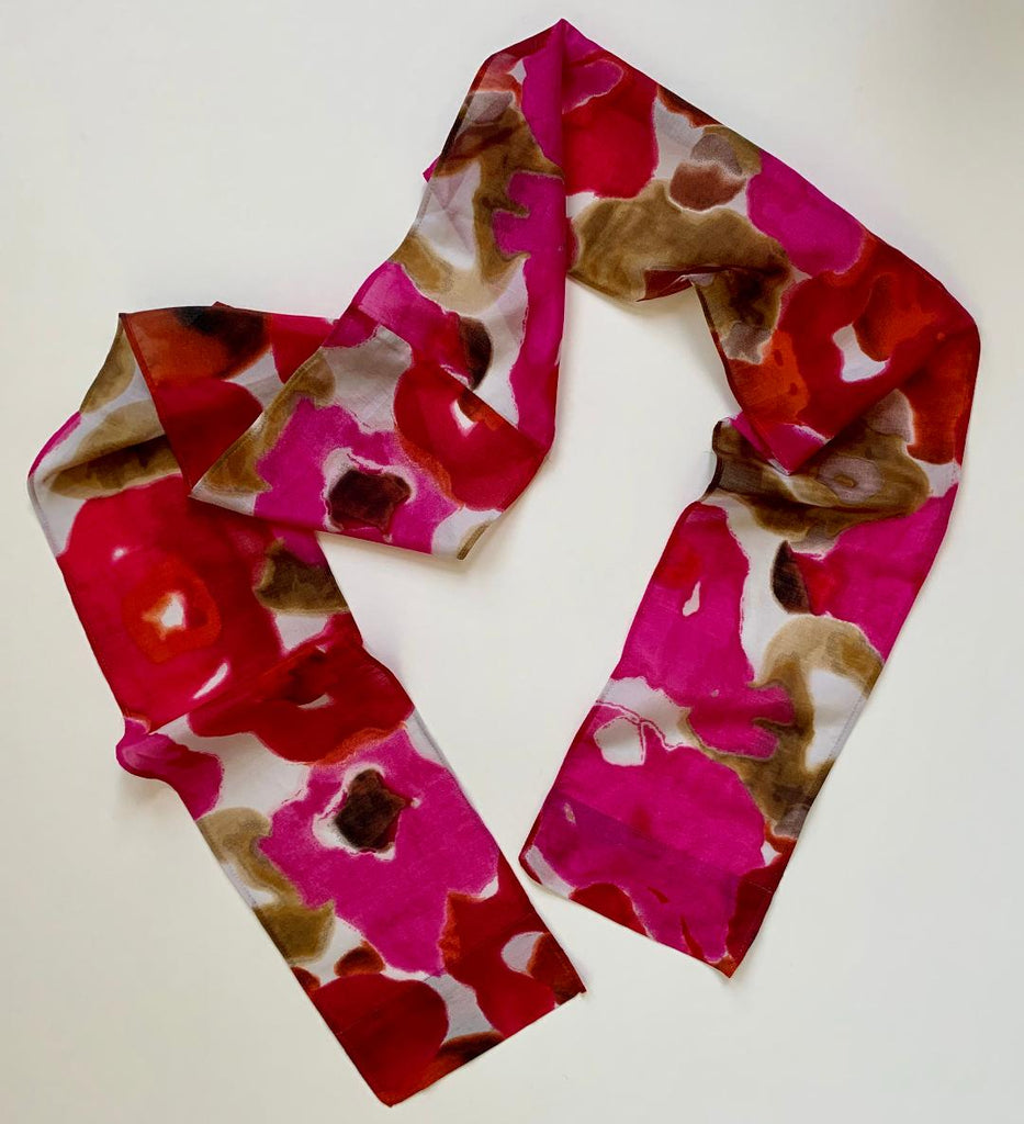 Henrietta - Silk Obscure Floral Scarf-Repurposed Scarves-Inspire Me Scarves