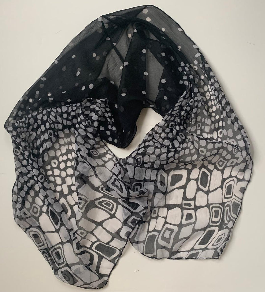 Tahlia - Black & White Ombre Scarf-Repurposed Scarves-Inspire Me Scarves