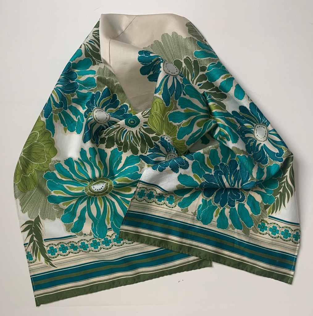 Kole - Turquoise & Cream Silk Scarf-Repurposed Scarves-Inspire Me Scarves