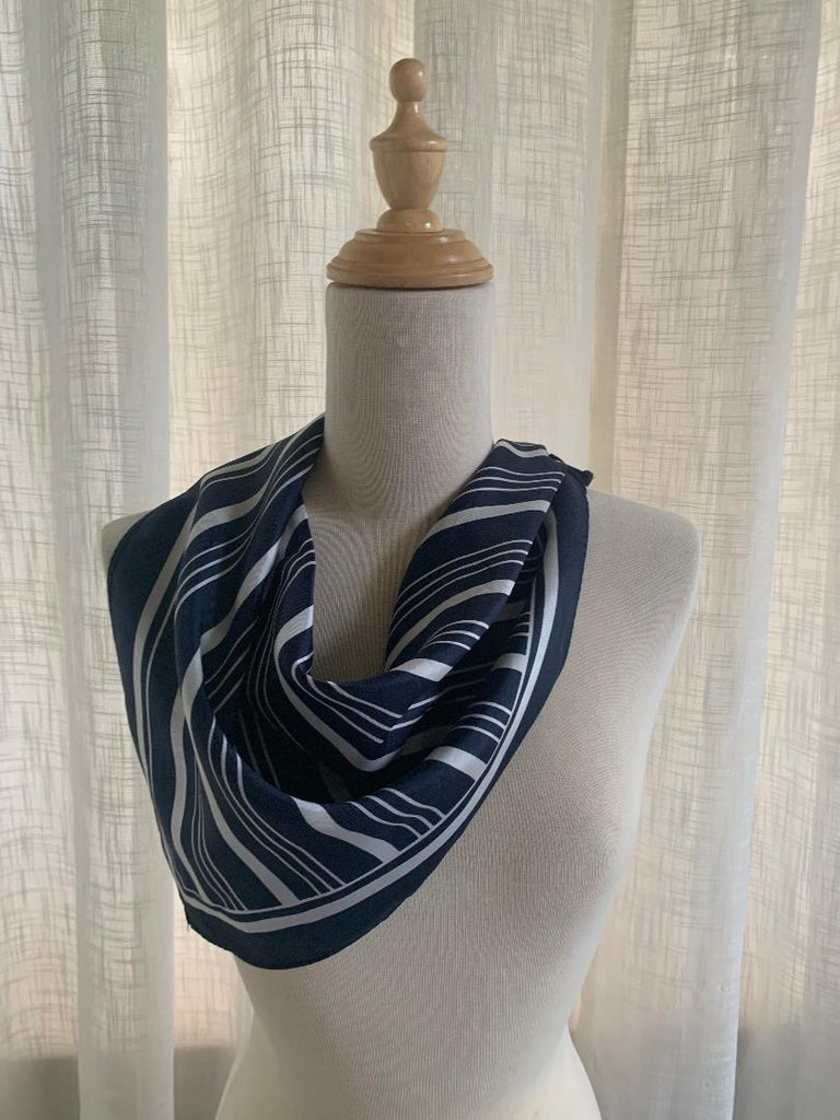 Sammy - Vintage Navy & White Striped Scarf-Spring/Summer Inspired Scarves-Inspire Me Scarves