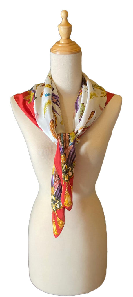 Nadine - Classic Feather Print Scarf-Vintage/Silk/Other Scarves-Inspire Me Scarves