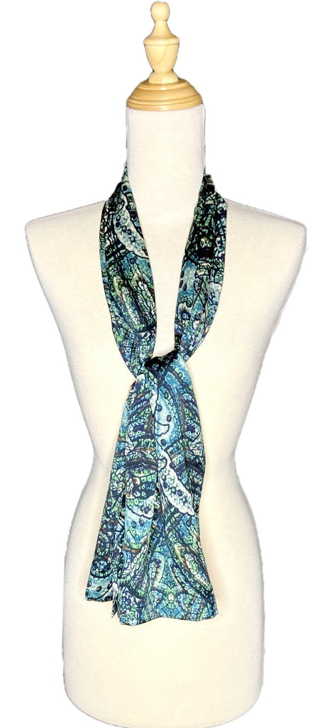 Angel - Architectural Scarf - Blues-Repurposed Scarves-Inspire Me Scarves