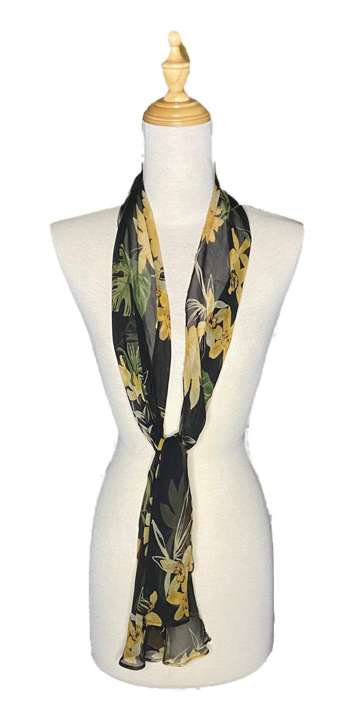 Kenzo - Black & Yellow Silk Scarf-Repurposed Scarves-Inspire Me Scarves