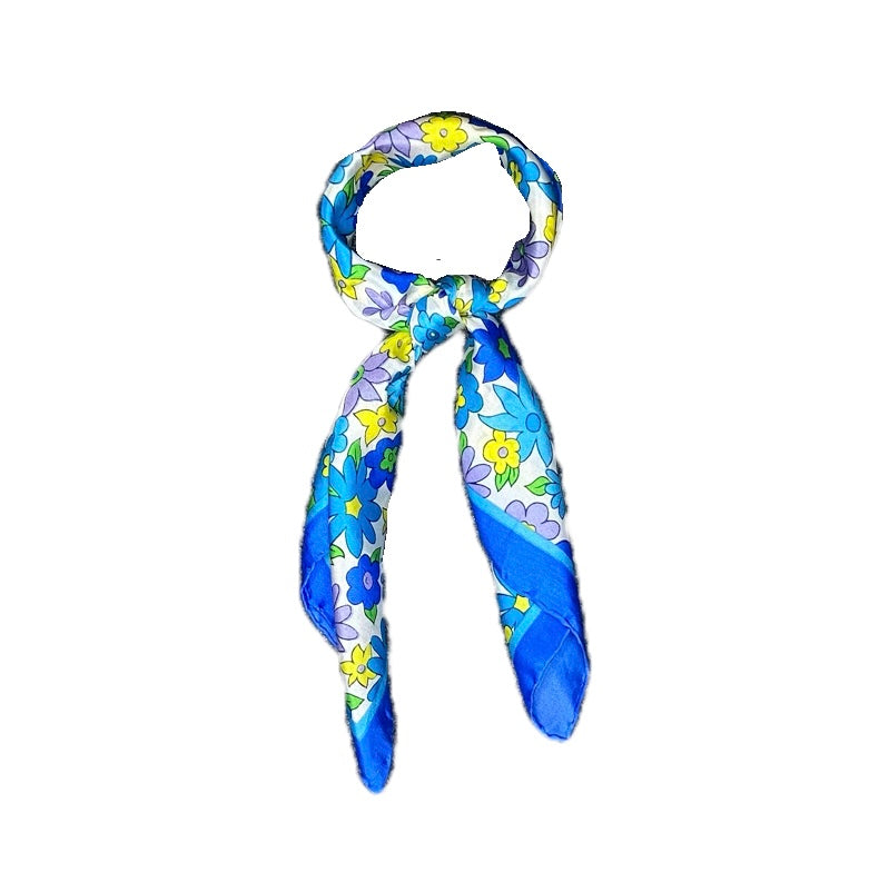 Don - Classic Blue Floral Mini Scarf-Mini Scarves-Inspire Me Scarves