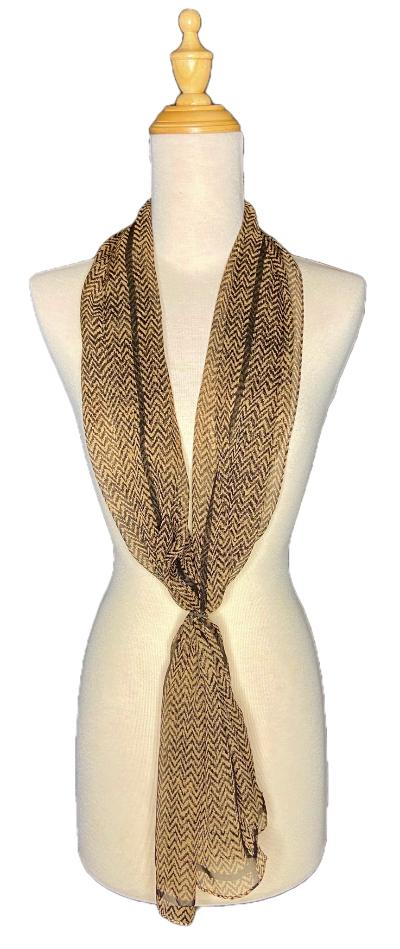 Kiara -Classic Graceful Chevron Scarf-Vintage/Silk/Other Scarves-Inspire Me Scarves