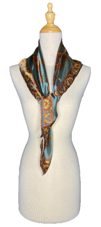 Fern- Vintage Scroll Design Scarf-Vintage/Silk/Other Scarves-Inspire Me Scarves