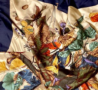 Shelly-Vintage Botanical Scarf-Vintage/Silk/Other Scarves-Inspire Me Scarves