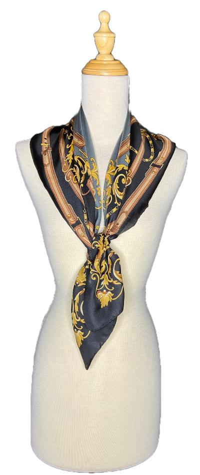 Traci-Classic Scroll Design Scarf-Vintage/Silk/Other Scarves-Inspire Me Scarves