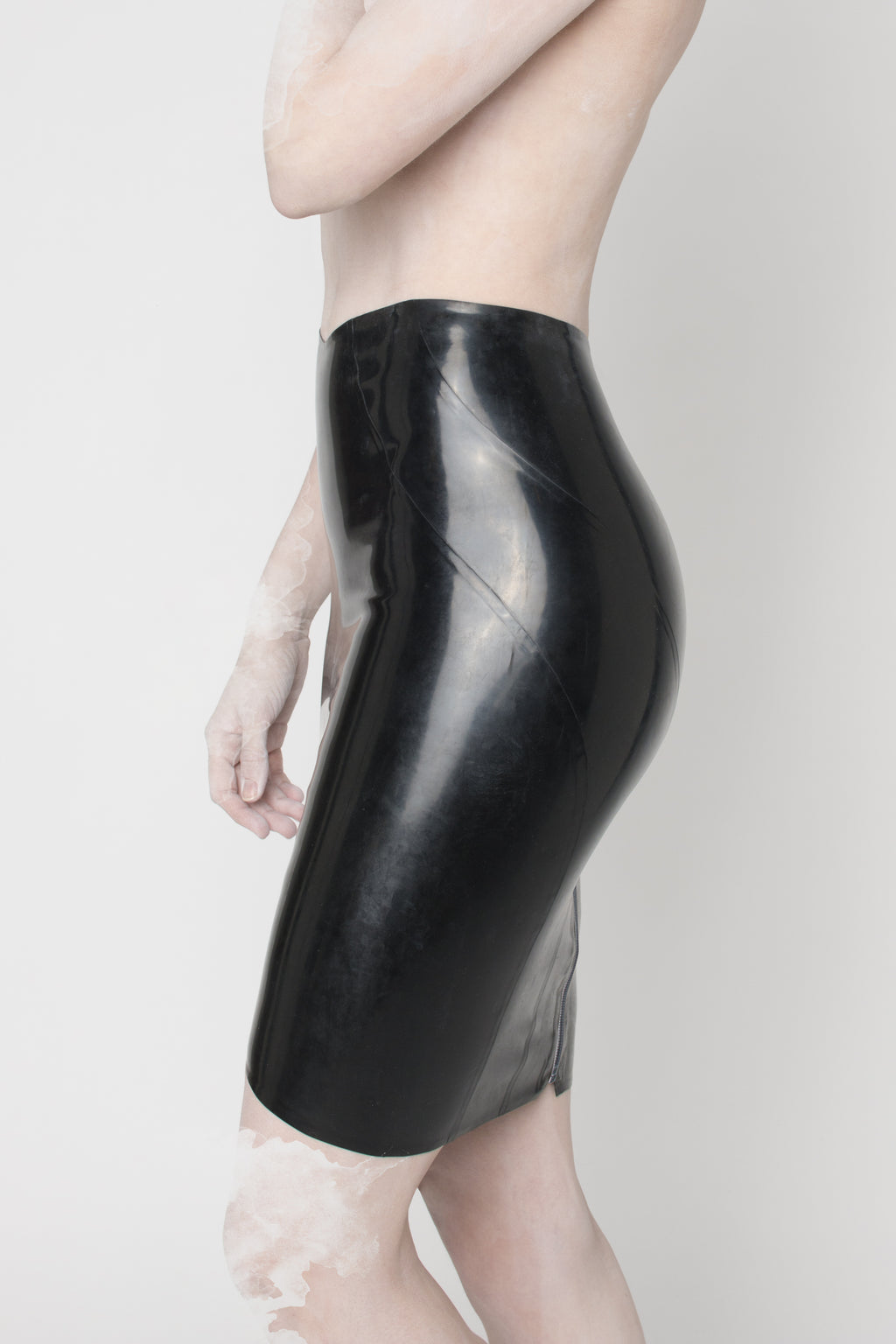 Black latex skirt