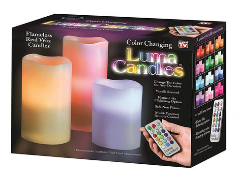 Color Changing Luma Flameless with Real Wax and Remote Control Timer