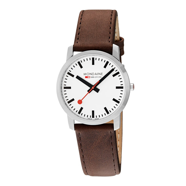 Mondaine Simply Elegant Watch: 41mm Case with Brown Leather Watch Band