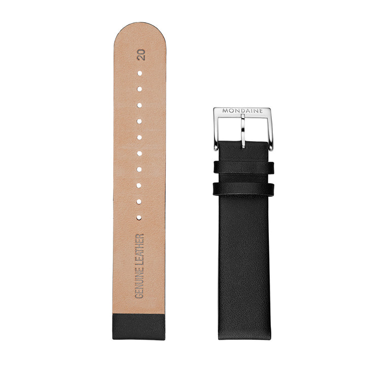 Mondaine Watch Band Black Leather Polished | Mondaine Australia
