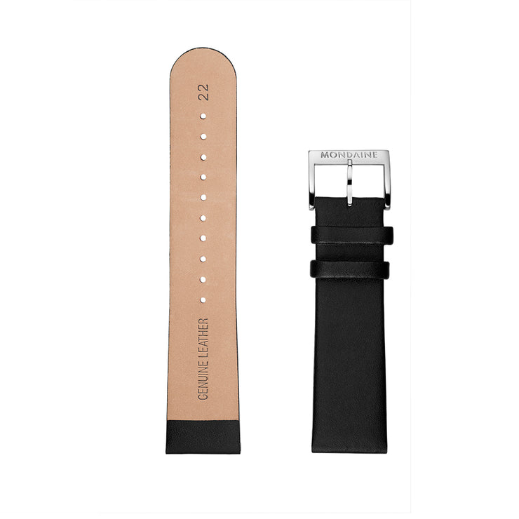 Mondaine Watch Band Black Leather Polished XL