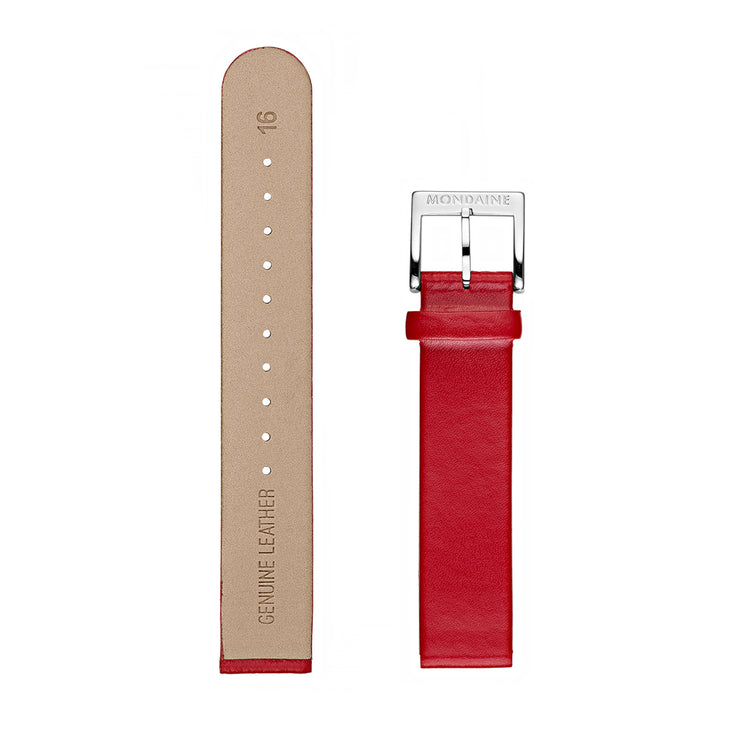 Mondaine Watch Band polished Genuine Leather Red 16mm - FE3116.30Q