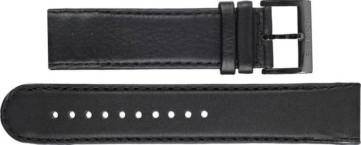Mondaine Watch Band Black Leather Stitch Black