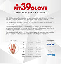 Load image into Gallery viewer, FiT39 Left Hand Golf Glove Classic Style (Black Base)