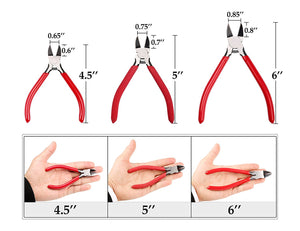 Whizzotech Wire Cutter Diagonal Cutting Pliers Micro Flush cut Side cutters, 5 Inch
